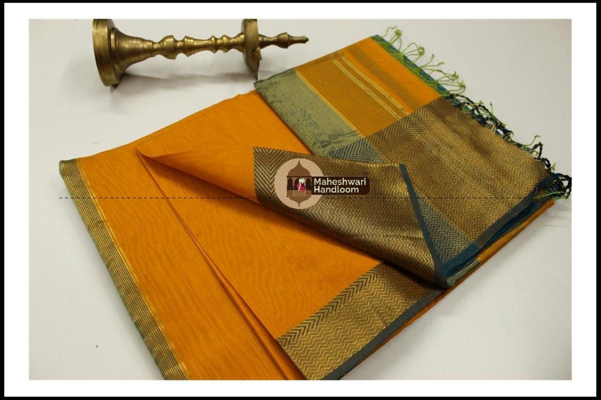 Maheshwari Dark Yellow Jari Skirt Border Saree