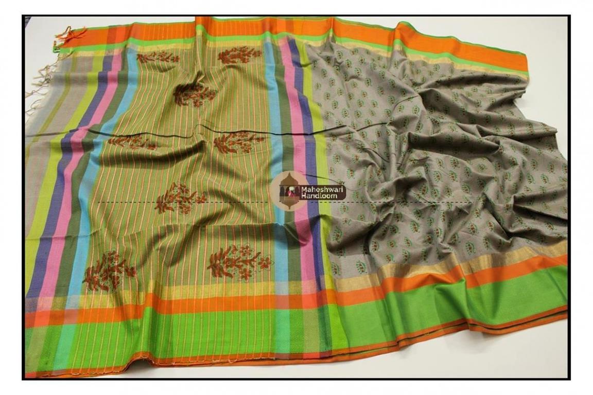 Maheshwari Grey Handblock Printed Saree