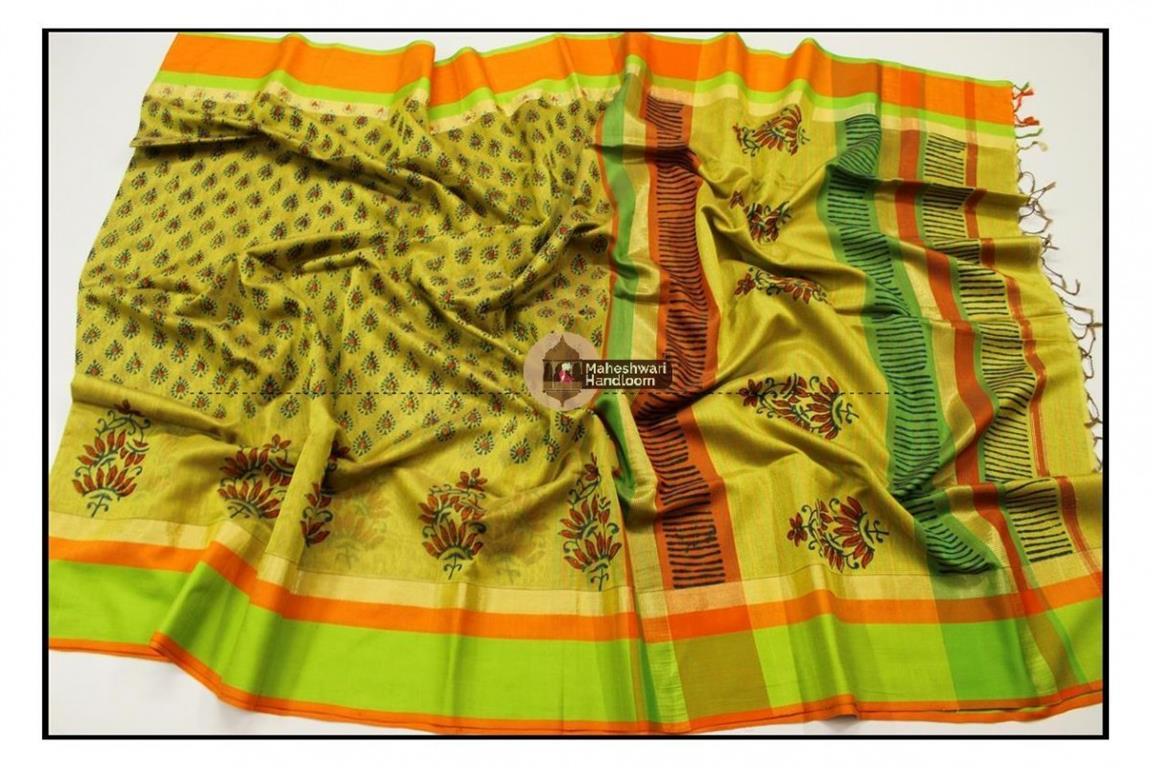 Maheshwari Yellow Handblock Printed Saree