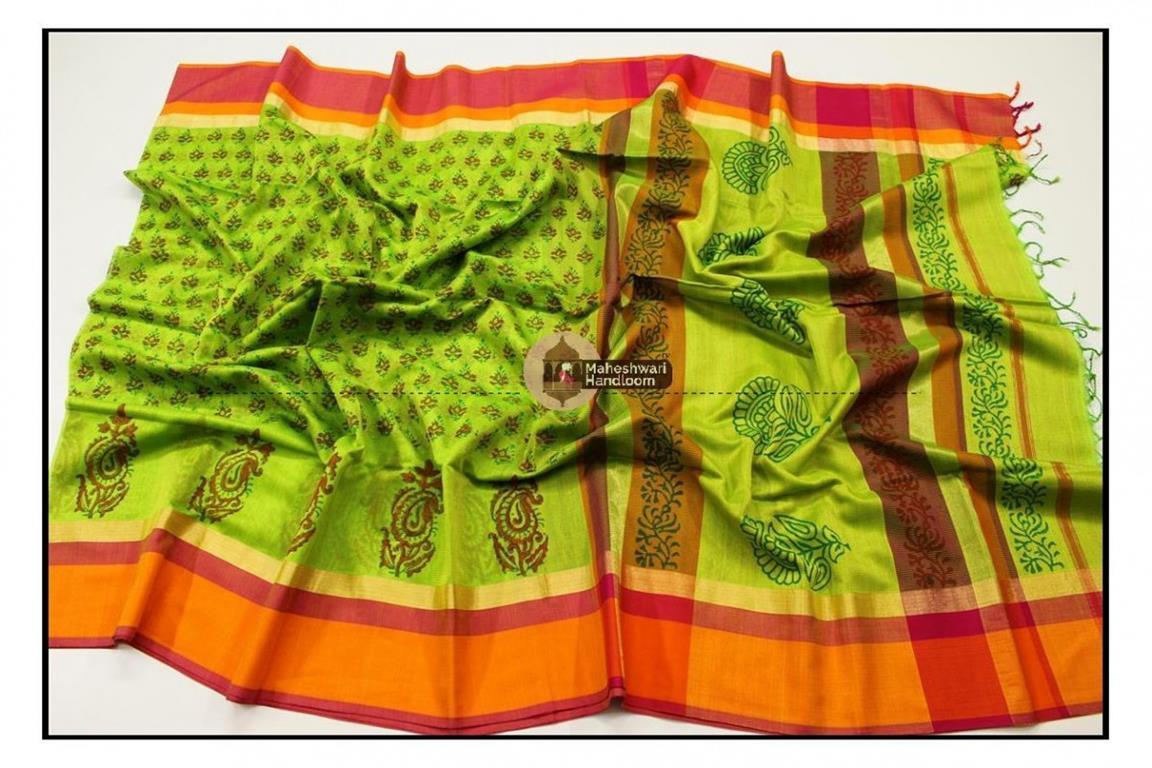 Maheshwari Green Handblock Print Saree