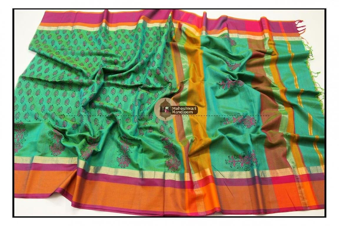 Maheshwari Sea Green Handblock Printed Saree