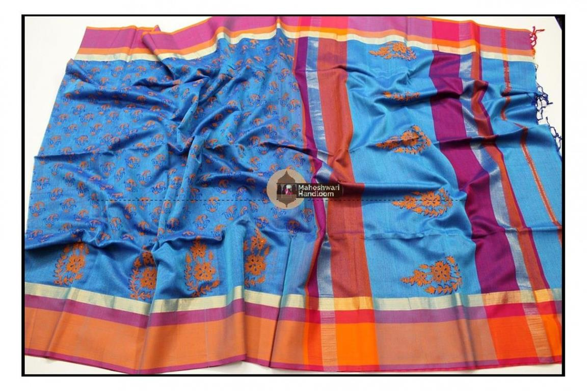 Maheshwari Sea Blue Handblock Printed saree