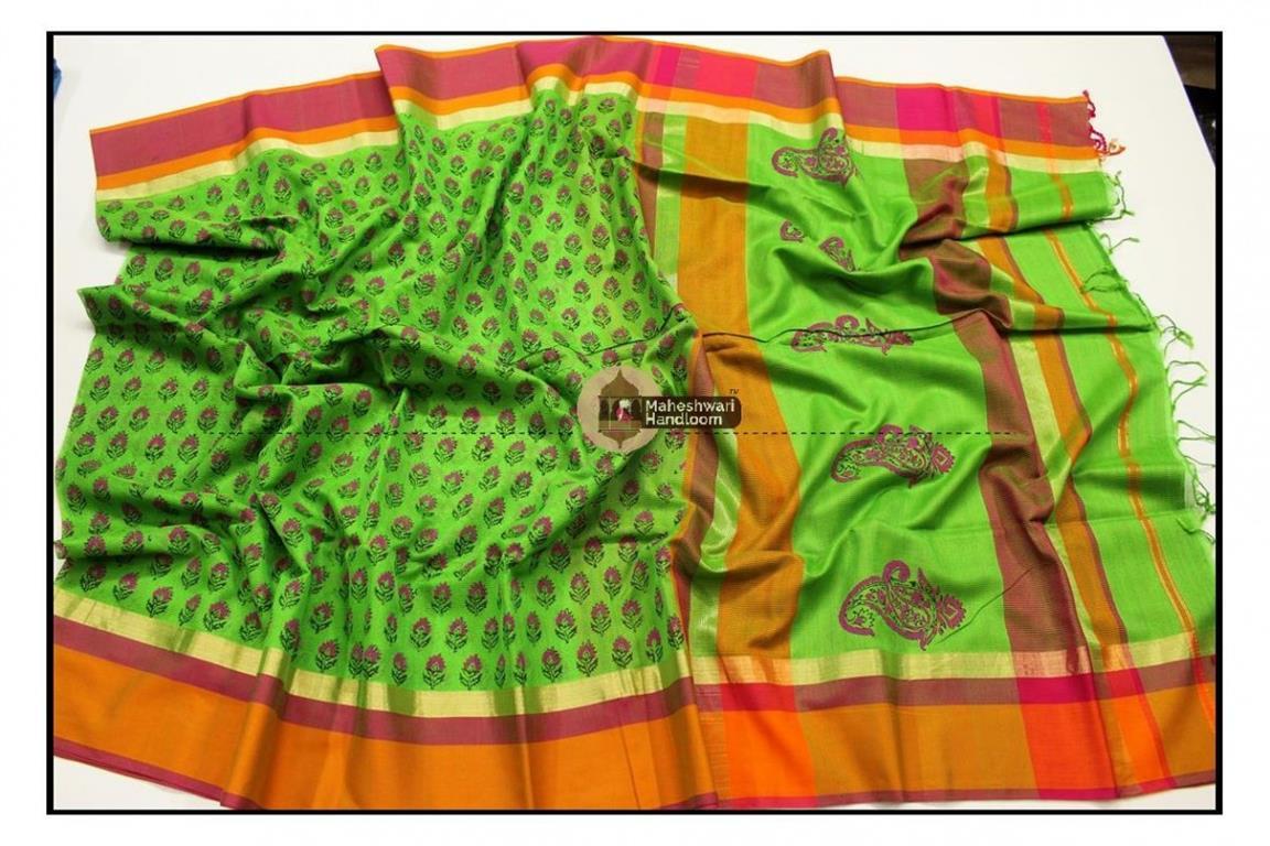 Maheshwari Parrot Green Handblock Printed Saree