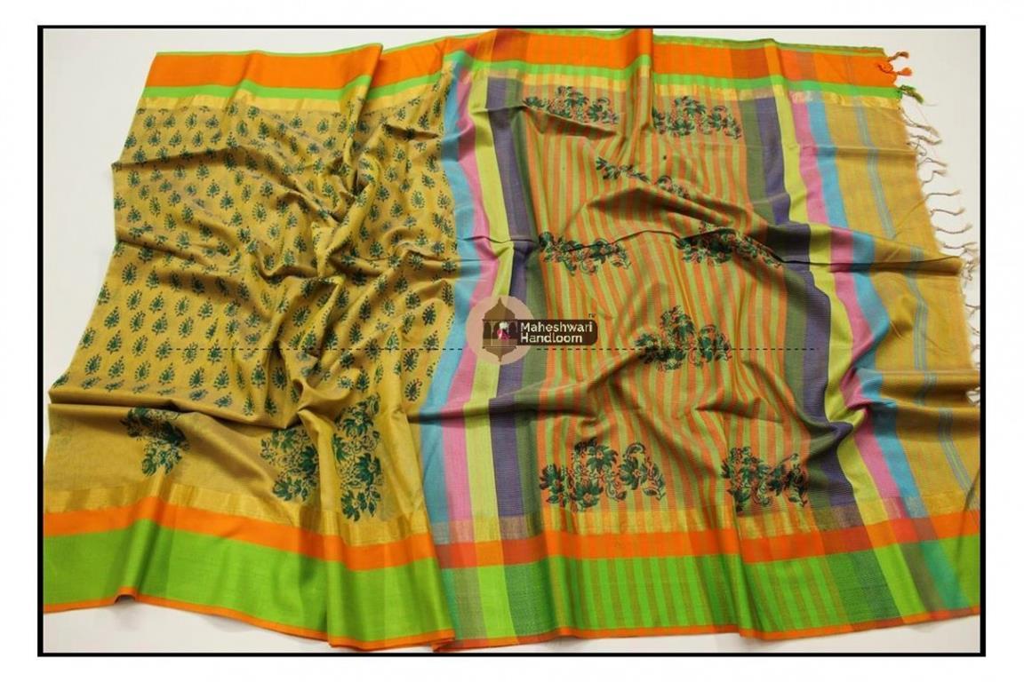 Maheshwari Mustard Yellow Handblock Printed Saree