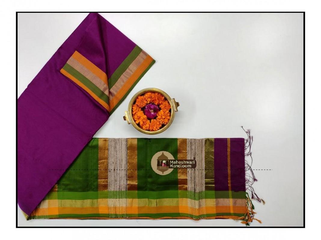 Maheshwari Teeen Kinar  Border Saree